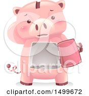 Clipart Of A Piggy Bank Mascot Revealing A Dusty Empty Vault Royalty Free Vector Illustration