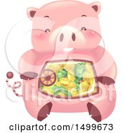 Clipart Of A Piggy Bank Vault Mascot With A View Into His Belly Royalty Free Vector Illustration