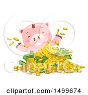 Clipart Of A Piggy Bank Mascot Playing In A Pile Of Money Royalty Free Vector Illustration
