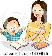 Mother Praising Her Son While Doing Homework