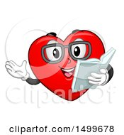 Love Heart Mascot Wearing Glasses And Reading A Love Story