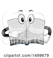 Braille Book Character Mascot Pointing To Its Page