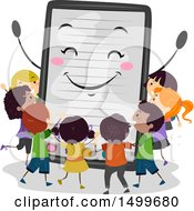 Tablet Or E Book Mascot Surrounded By Children
