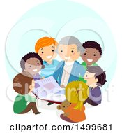 Clipart Of A Group Of Kids Sitting Around George Washington Royalty Free Vector Illustration by BNP Design Studio