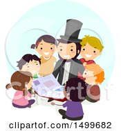 Clipart Of A Group Of Kids Sitting Around Abraham Lincoln Royalty Free Vector Illustration