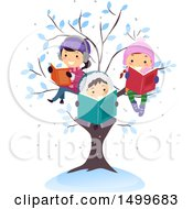 Group Of Children Reading Books In A Winter Tree