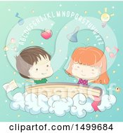 Clipart Of A Sketched Boy And Girl On A Book In The Clouds Under Letters Royalty Free Vector Illustration