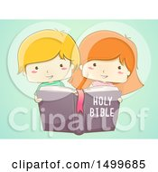 Clipart Of A Sketched Boy And Girl Reading A Holy Bible On Green Royalty Free Vector Illustration