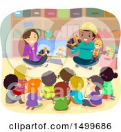 Clipart Of A Group Of School Children Listening To A Construction Story Royalty Free Vector Illustration