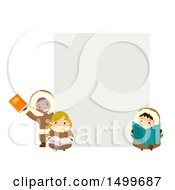 Clipart Of A Group Of Eskimo Children Reading Books Around A Sign Royalty Free Vector Illustration