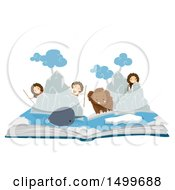 Clipart Of A Pop Up Book With An Ice Age Scene Of Kids A Mammoth And Narwhal Royalty Free Vector Illustration