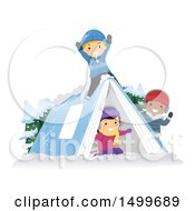 Group Of Kids Playing On A Book Tent In The Snow