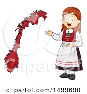 Clipart Of A Norwegian Girl Presenting A Norway Map Royalty Free Vector Illustration