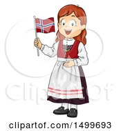 Poster, Art Print Of Norwegian Girl Holding A Flag