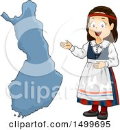 Clipart Of A Finnish Girl Presenting A Finland Map Royalty Free Vector Illustration