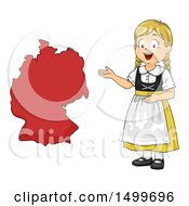 Clipart Of A German Girl Presenting A Map Royalty Free Vector Illustration
