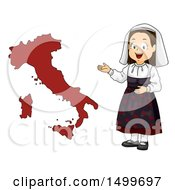 Poster, Art Print Of Girl Presenting A Map Of Italy