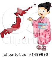 Poster, Art Print Of Japanese Girl Presenting A Map