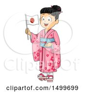 Clipart Of A Japanese Girl Wearing A Kimono And Holding A Flag Royalty Free Vector Illustration