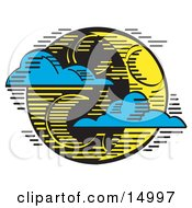 Blue Clouds Travelling On The Wind And Passing In Front Of A Crescent Moon On Halloween Clipart Illustration
