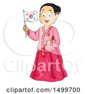 Clipart Of A Korean Girl Wearing A Hanbok And Holding A Flag Royalty Free Vector Illustration