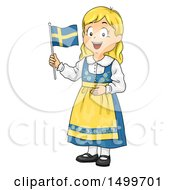 Clipart Of A Swedish Girl Holding A Flag Royalty Free Vector Illustration