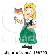 Clipart Of A German Girl Holding A Flag Royalty Free Vector Illustration