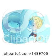 Clipart Of A Sketched Boy Entering Virtual Reality To Meet A Girl Royalty Free Vector Illustration by BNP Design Studio