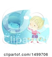 Clipart Of A Sketched Boy Waving To A Girl Somewhere Else Using Virtual Reality Technology Royalty Free Vector Illustration