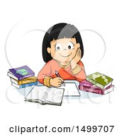 Clipart Of A School Girl Studying Geography Royalty Free Vector Illustration by BNP Design Studio