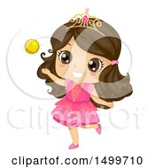 Clipart Of A Cute Brunette Priness Girl Playing With A Gold Ball Royalty Free Vector Illustration