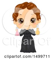 Clipart Of A Cute Brunette Girl In A Marie Curie Costume Royalty Free Vector Illustration