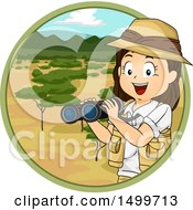 Clipart Of A Girl Explorer Holding Binoculars In A Savanna Circle Royalty Free Vector Illustration by BNP Design Studio