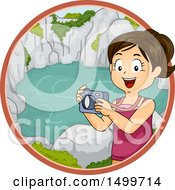 Clipart Of A Girl Taking Pictures Of A Lagoon Royalty Free Vector Illustration