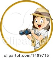 Clipart Of A Girl Explorer Holding Binoculars In A Circle Royalty Free Vector Illustration by BNP Design Studio