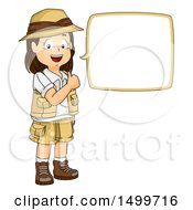 Clipart Of A Girl Explorer Giving A Thumb Up And Talking Royalty Free Vector Illustration