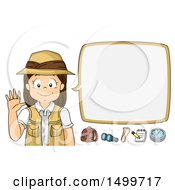 Clipart Of A Girl Explorer Waving And Talking Royalty Free Vector Illustration by BNP Design Studio