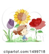 Clipart Of A Sketched Girl Surrounded By Giant Happy Flowers Royalty Free Vector Illustration by BNP Design Studio