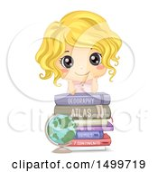 Clipart Of A Cute White Girl On Top Of Geography Books Royalty Free Vector Illustration