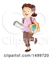 Poster, Art Print Of Brunette White School Girl Carrying A Map And Geography Book