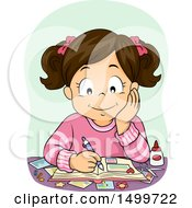 Clipart Of A Brunette Girl Working On A Scrapbook Royalty Free Vector Illustration by BNP Design Studio
