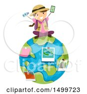 Clipart Of A Girl Explorer Sitting On Earth With Pictures And Binoculars Royalty Free Vector Illustration by BNP Design Studio