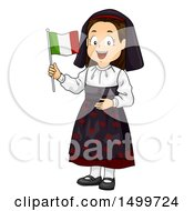 Clipart Of An Italian Girl Holding A Flag Royalty Free Vector Illustration
