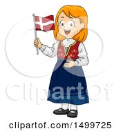 Poster, Art Print Of Danish Girl Holding A Flag