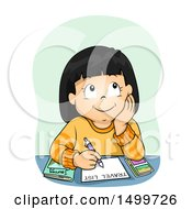 Clipart Of A Thoughtful Girl Writing A Travel List Royalty Free Vector Illustration
