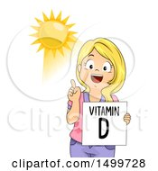 Girl Holding A Vitamin D Flash Card And Pointing To The Sun