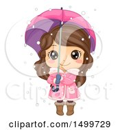Cute Brunette Winter Girl Holding An Umbrella In The Snow