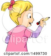 Clipart Of A Blond School Girl Writing With A Pencil Royalty Free Vector Illustration by BNP Design Studio