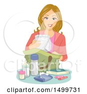 Clipart Of A Mother Packing A Diaper Bag Royalty Free Vector Illustration