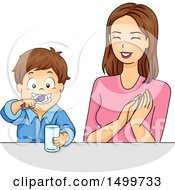 Clipart Of A Mother Praising Her Son As He Brushes His Teeth Royalty Free Vector Illustration